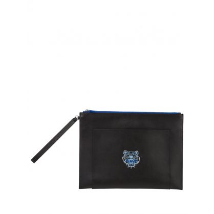 Black Large Leather Ekusson Tiger Pouch Bag