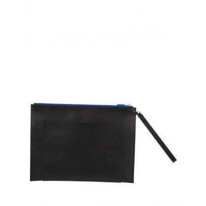 Black Large Leather Ekusson Tiger Pouch Bag