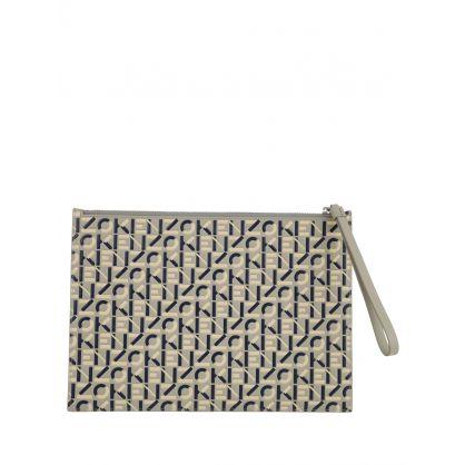 Grey Large Monogram Leather Clutch Bag