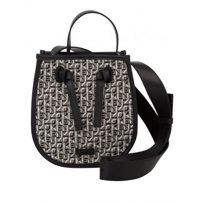 Black/Grey Courier Jacquard Bucket Bag