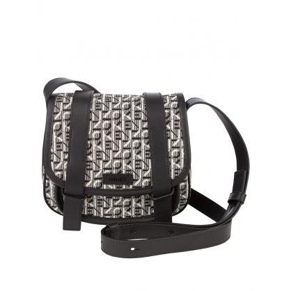 Black/Grey Courier Small Jacquard Messenger Bag