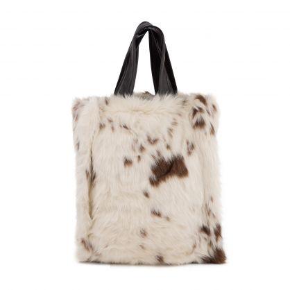 Cow Print Leia Faux Fur Tote Bag