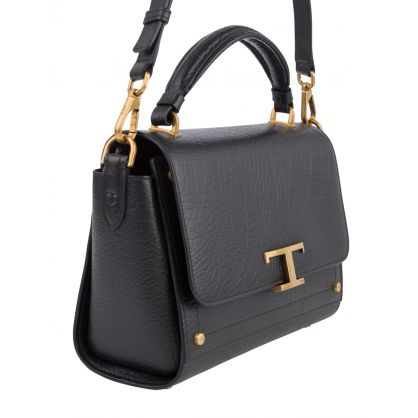 Black Leather T Timeless Crossbody Bag