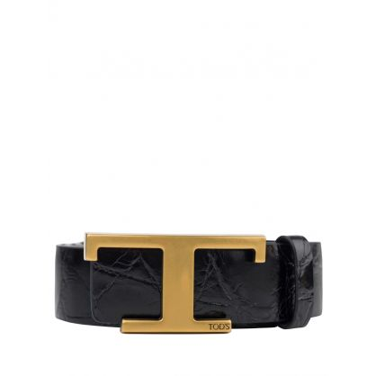 Black Leather T Buckle Belt