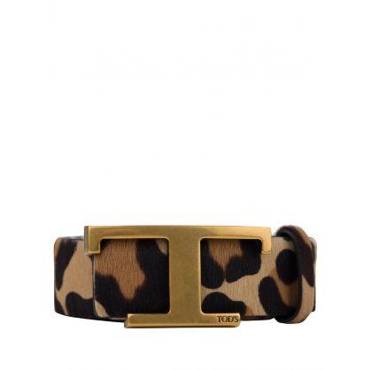 Brown Ponyskin-Effect Leather Timeless Belt