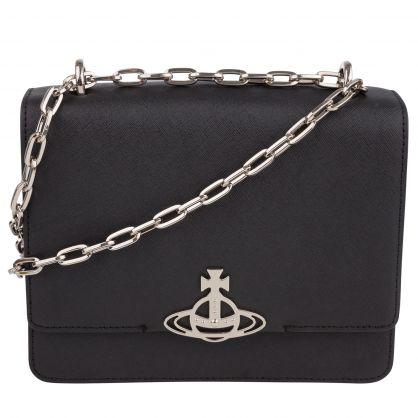 Black Debbie Medium Flap Bag