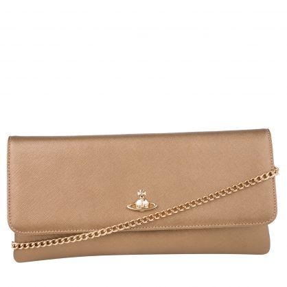 Gold Flap-Close Victoria Clutch Bag