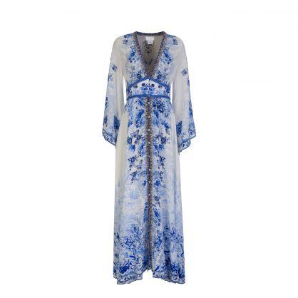 Blue High Tea Kimono Sleeve Maxi Dress