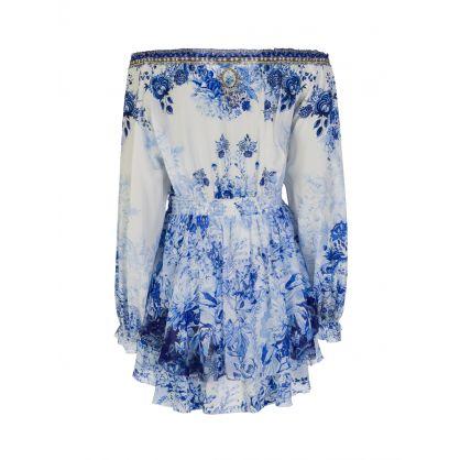 Blue High Tea Tiered Mini Dress