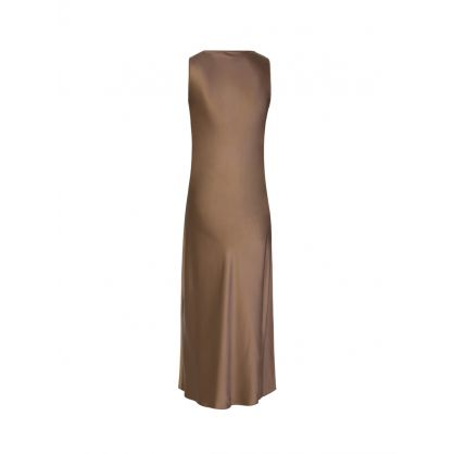 Brown Daris Silk Satin Dress