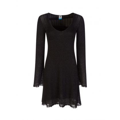 Black Ribbed Lurex Dress