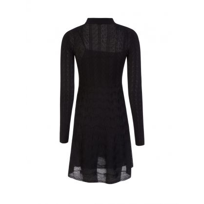 Black Wool Blend Mini Dress