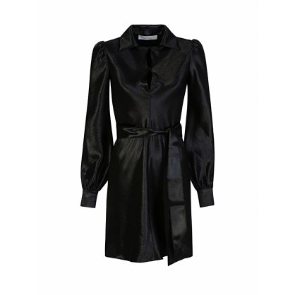 Di Lorenzo Serafini Black Satin Plunge Mini Dress
