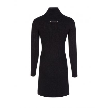 Black Lurex High Neck Mini Dress