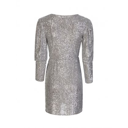 Silver Allover Sequin Wrap Dress