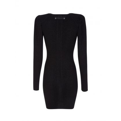 Black Lurex V Neck Dress