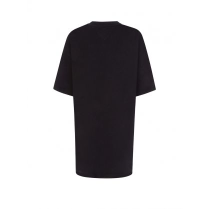 Black Oversized Badge T-Shirt Dress