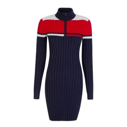 Navy Colourblock Sweater Dress