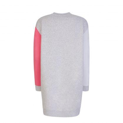 Grey Colour Block Logo Dress