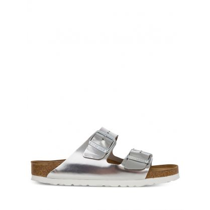 Silver Natural Leather Arizona Sandals
