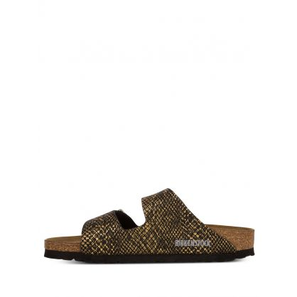 Gold/Black Shiny Python Arizona Sandals