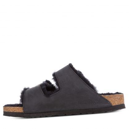 Black Narrow-Fit Arizona Big Buckle Shearling Sandals