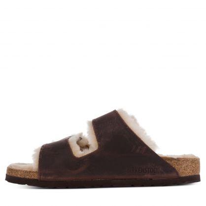 Brown Narrow-Fit Arizona Big Buckle Shearling Sandals