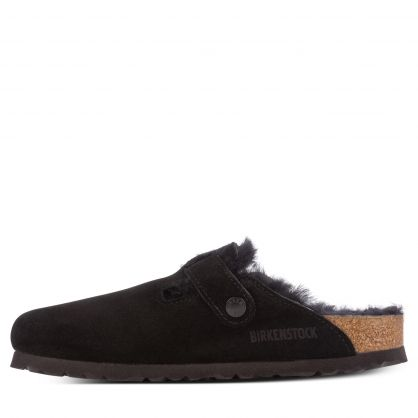 Black Boston Shearling Suede Leather Slippers