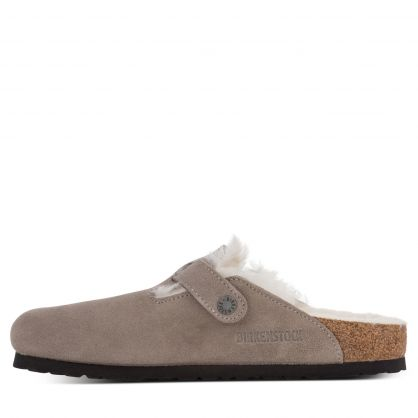 Grey Boston Shearling Suede Leather Slippers