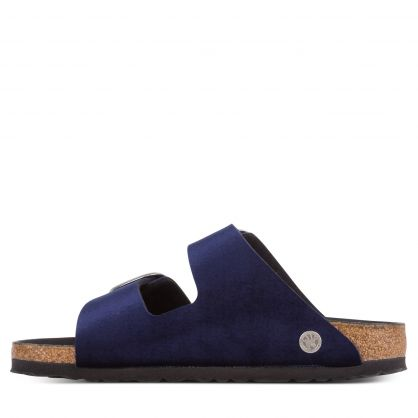 Navy Narrow-Fit Velvet Arizona Big Buckle Sandals