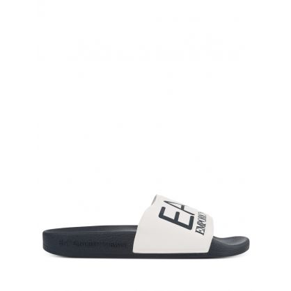 Navy/White Logo Beachwear Slides