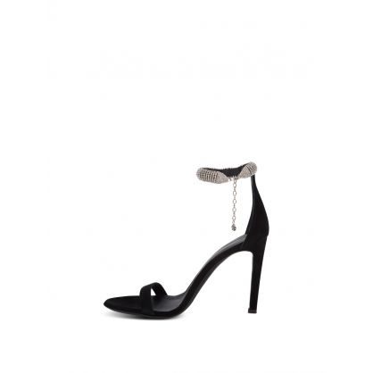 Black Suede Debbie Heeled Sandals
