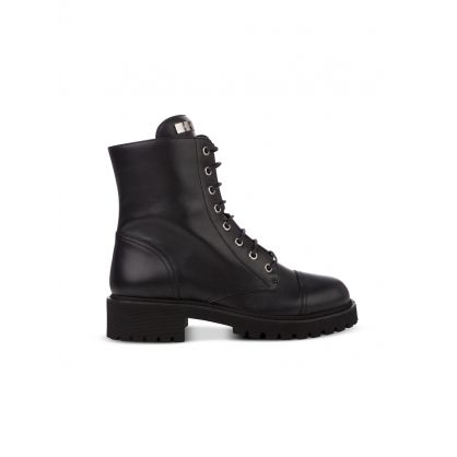Black Leather Thora Biker Boots