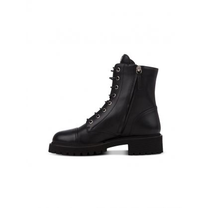 Black Leather Thora Biker Boots