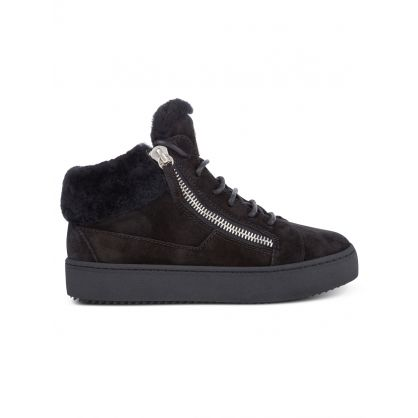 Black Suede Mid-Top Zip Trainers