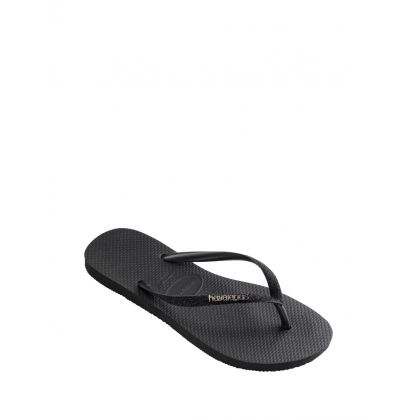 Black Glitter Slim Fit Flip Flops