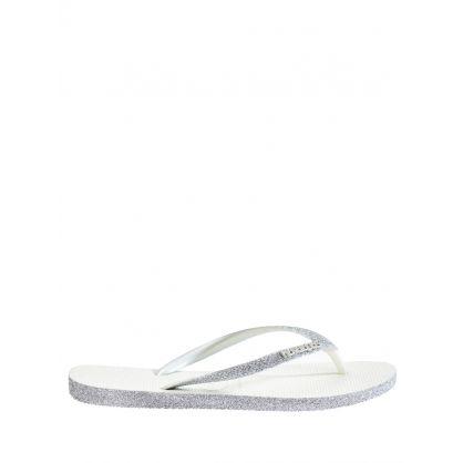 White Slim Sparkle Flip Flops