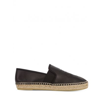 Black Elasticated Leather Tiger Espadrilles