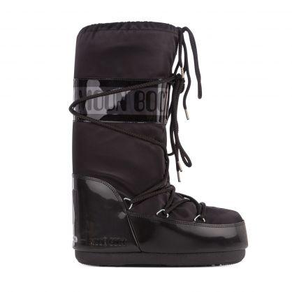 Black Icon Glance Satin Boots