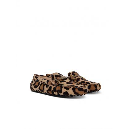 Brown Animal Print Loafers