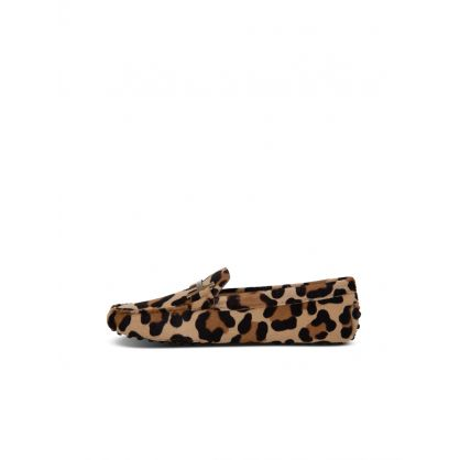 Brown Animal Print Loafers