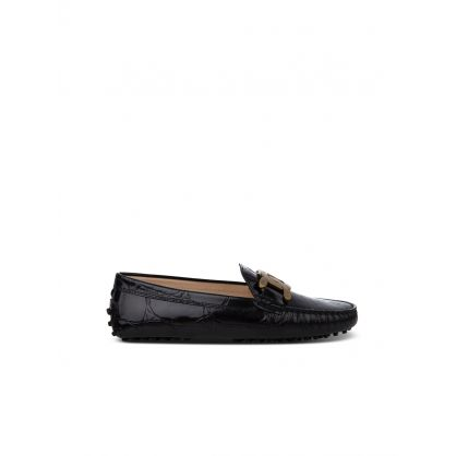 Black Leather Crocodile-Print Loafers