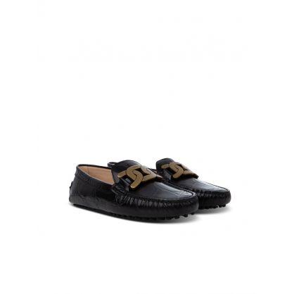 Black Leather Crocodile-Print Loafers