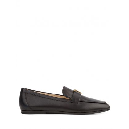 Black Leather T Timeless Loafers