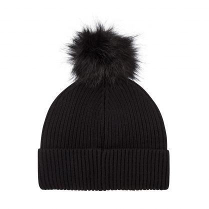 Black Mallory Pom Beanie Hat