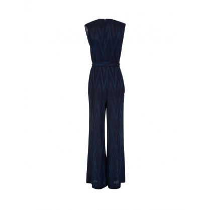 Navy Glitter Tie Neck Jumpsuit