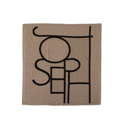 Brown Knitted Logo Shawl