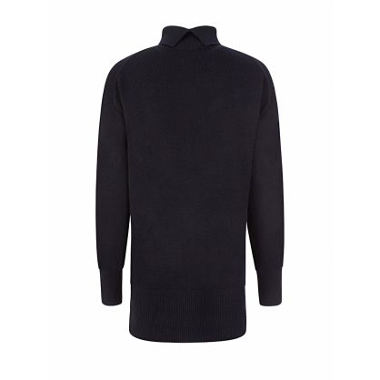Navy Soft Wool High-Neck Jumper