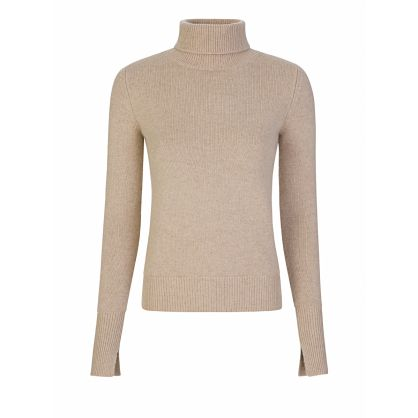 Beige Pure Cashmere High-Neck Jumper