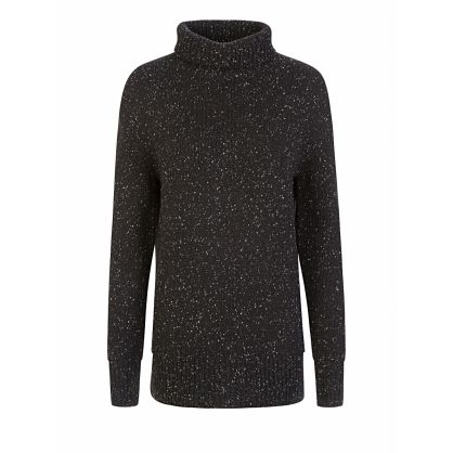 Black High-Neck Knit Tweed